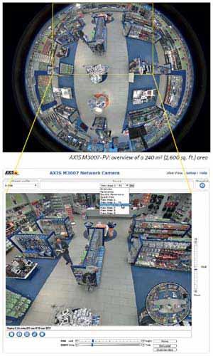 панорамное изображение от купольной камеры M3007-PV