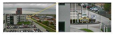 2 MP уличная поворотная камера Q6045-Е: изображение, полученное с применением 20-кратного зума