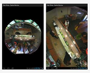 мобильное приложение OnVu360 для Android: панорамная камера установлена в помещении магазина