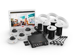 комплект F34: HDTV видеокамера F1004, основной блок, купольные корпуса, карты памяти и аксессуары