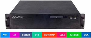 профессиональный видеорегистратор 4K GANZ NR8-32F88-0 для записи видео и аудио от 32 IP-камер