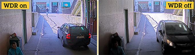 сравнение изображения от IP-камеры в HD качестве без/с WDR